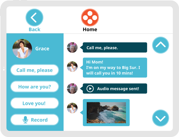Video of Ohana app messaging feature with voice recording for the senior and replies from the grandchild.