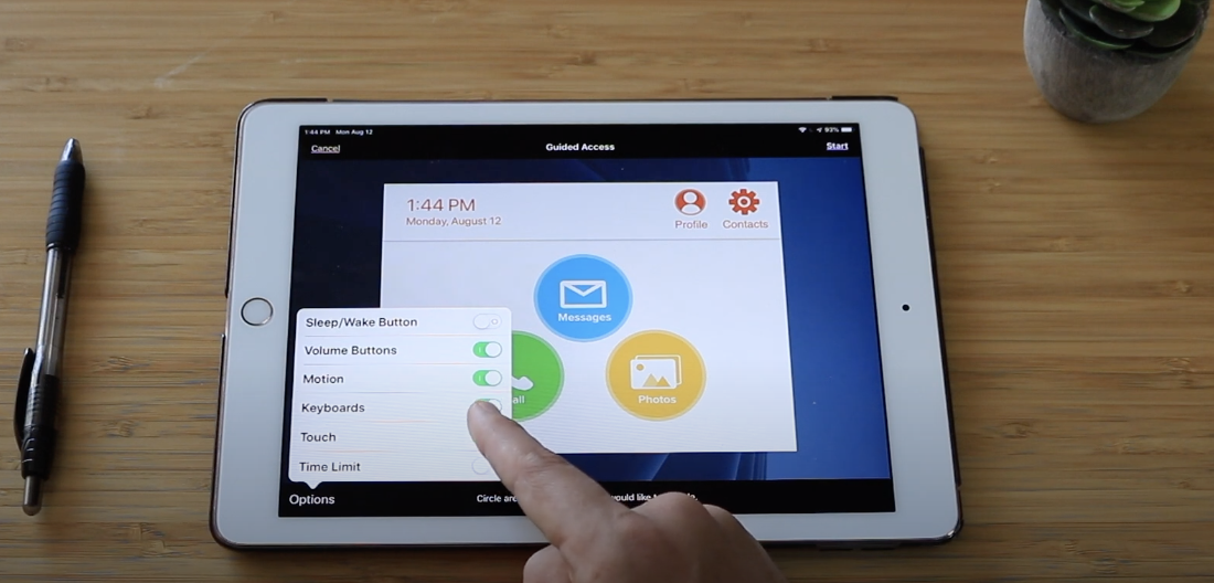 Guided access keeps seniors from exiting the app - iPad