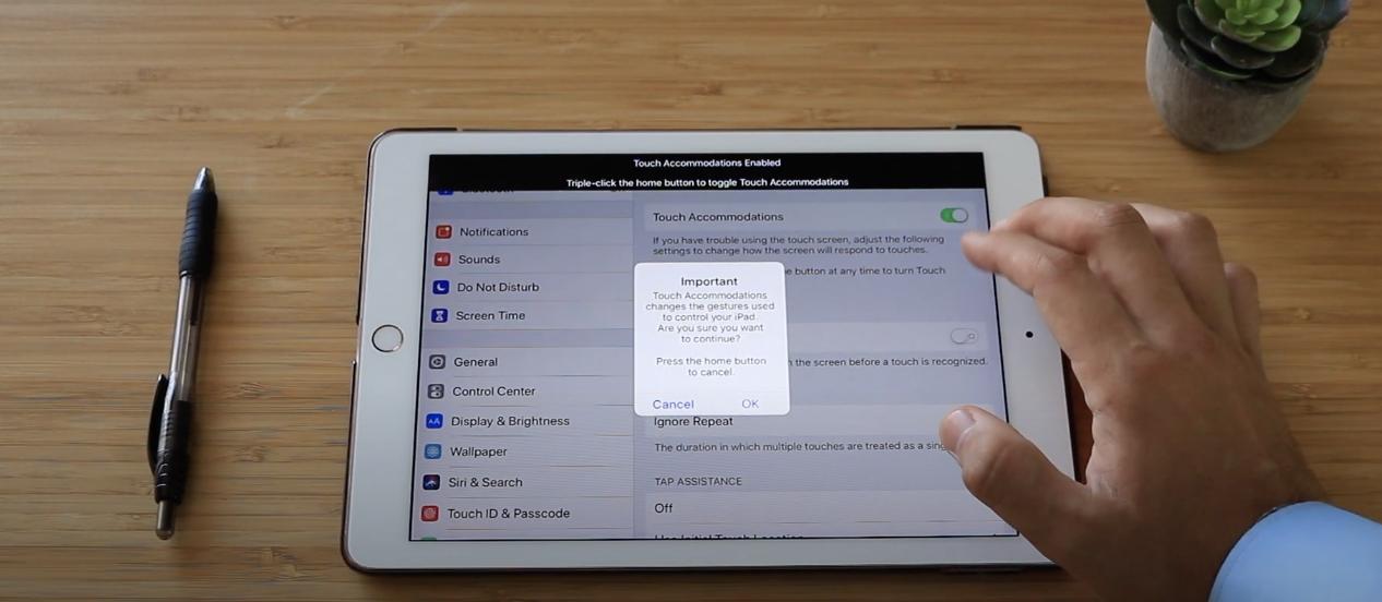 iPad setting for seniors with tremors, Parkinsons, arthritis