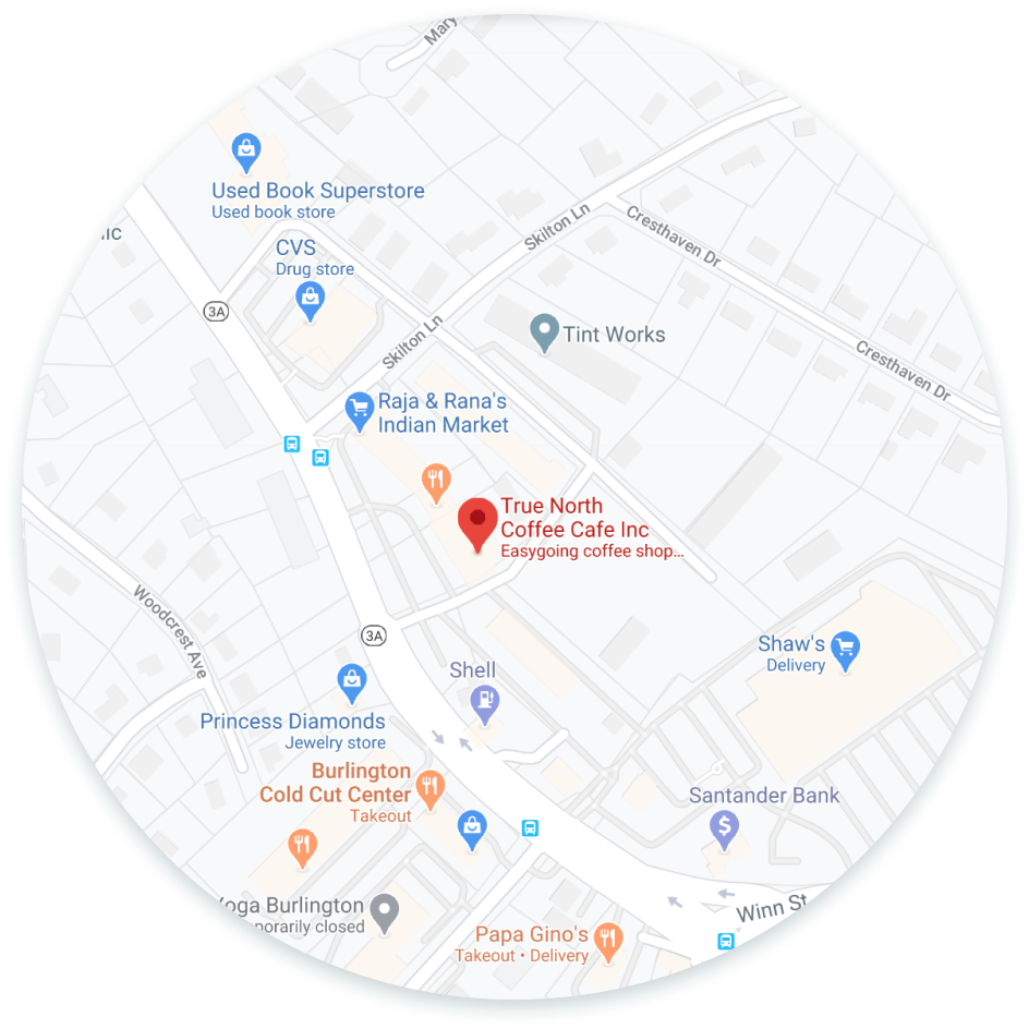 Map of True North Coffee Cafe and nearby area. Click to go to Google maps or open the maps app on your phone.