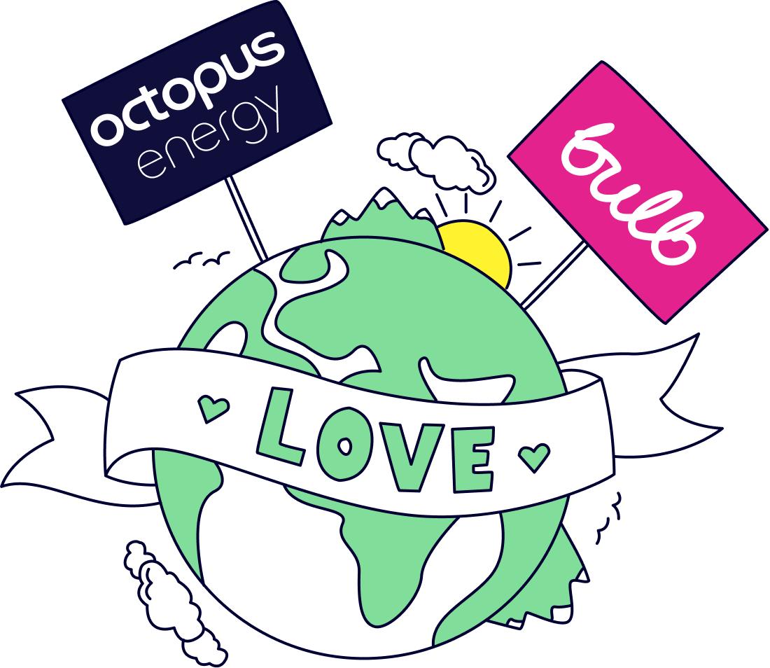 Environmentally friendly energy companies Octopus Energy and Bulb Energy love the world