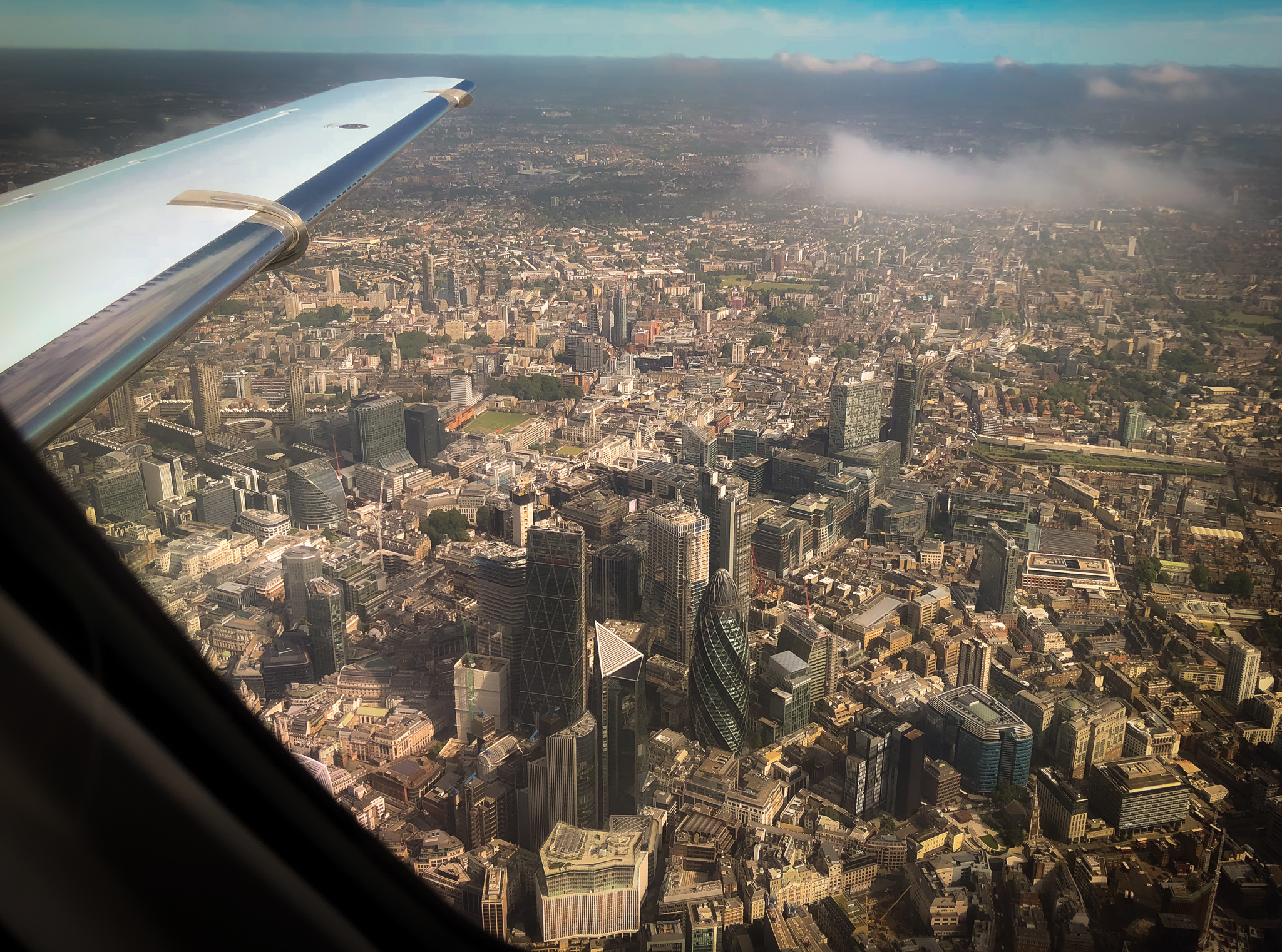 flying over London in private jet