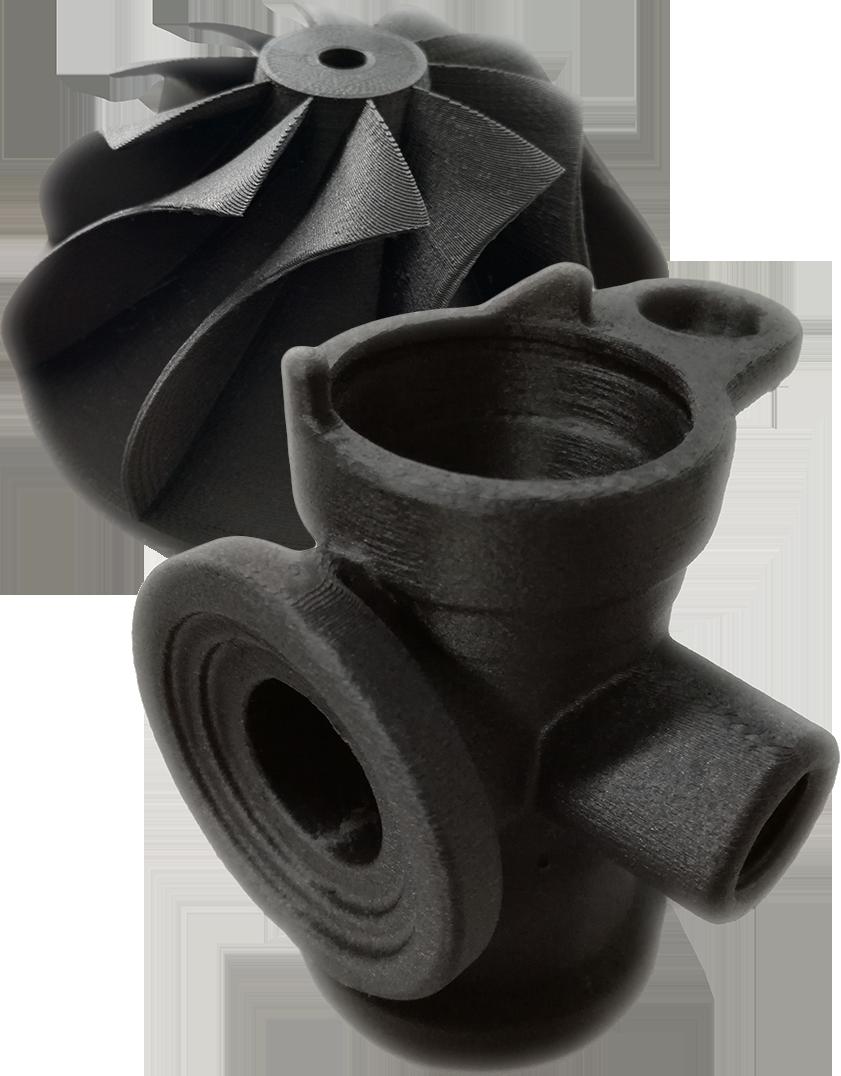 Sample 3d print out of 3DXTech high temperature carbon fibre nylon filament on INTAMSYS high temperature 3d Printer
