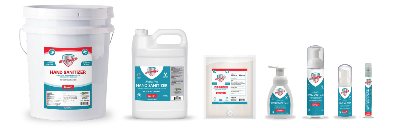 Clean and Shield (My-Shield) hand sanitizer foam and spray