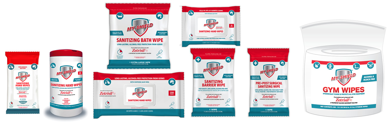 Clean and Shield (My-Shield) sanitizing hand wipes