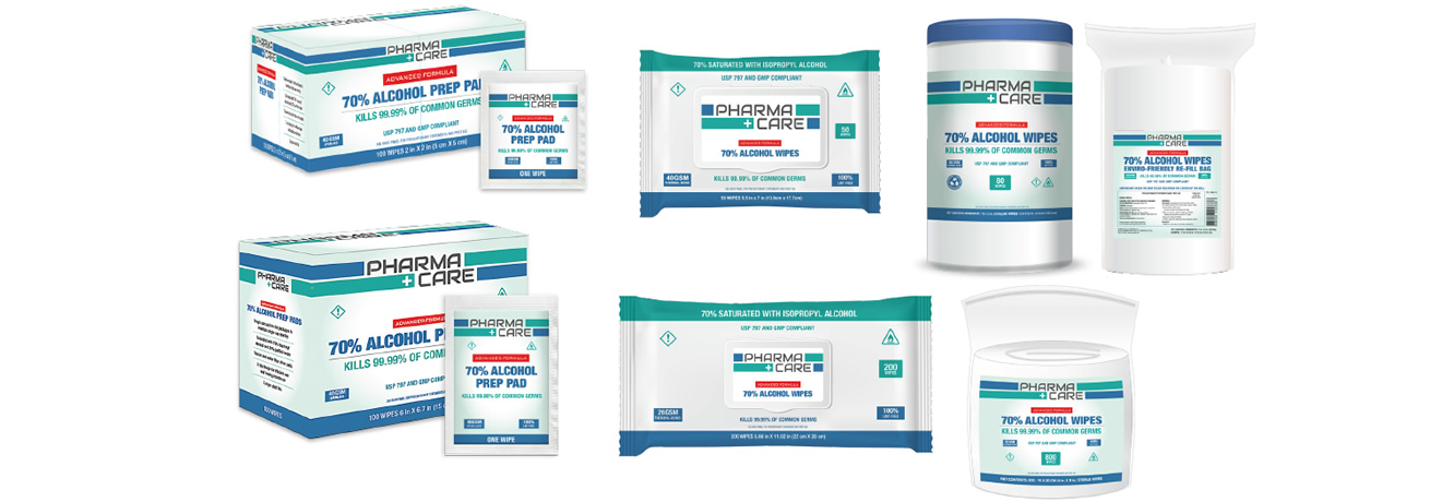 Clean and Shield (Pharma Care) advanced formula, 70% alcohol prep pads and wipes