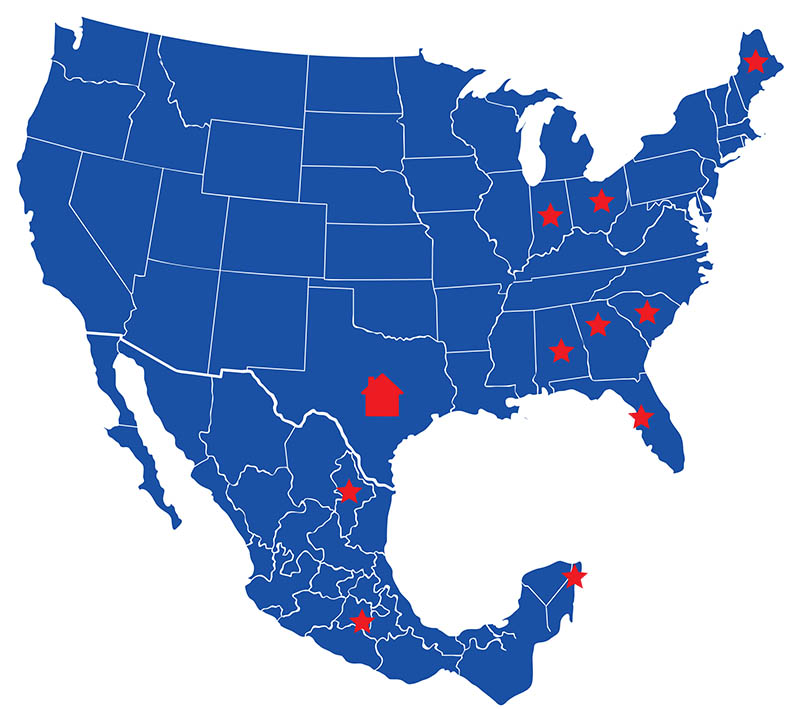 Clean and Shield Affiliates map locations, United States and Mexico