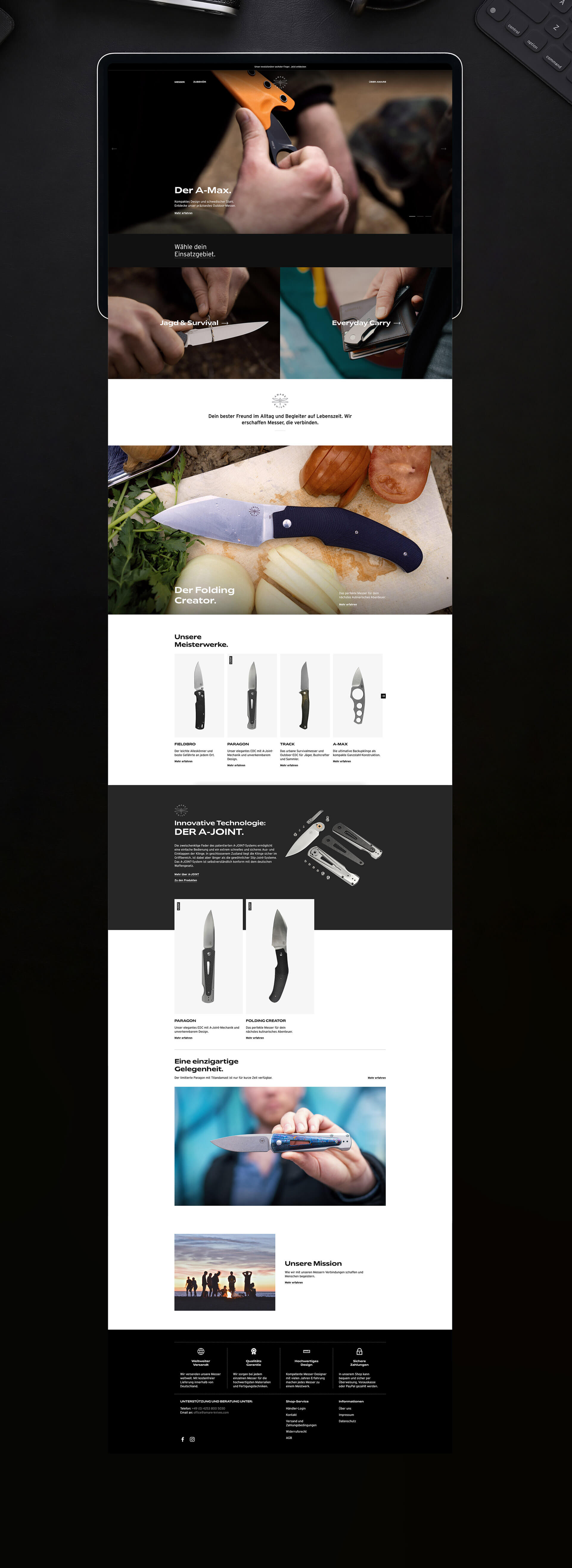 Professionelles Webdesign Amare Knives