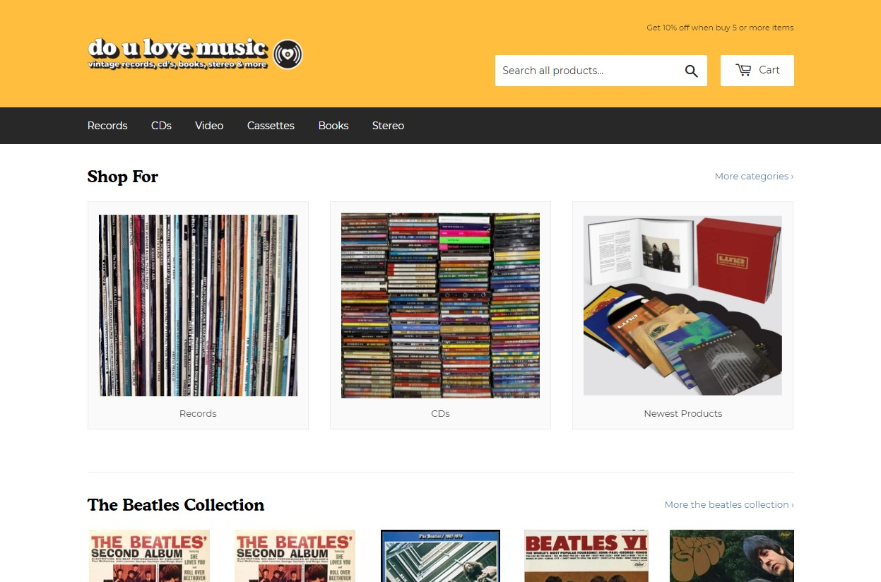 Record store e-commerce store design screenshot