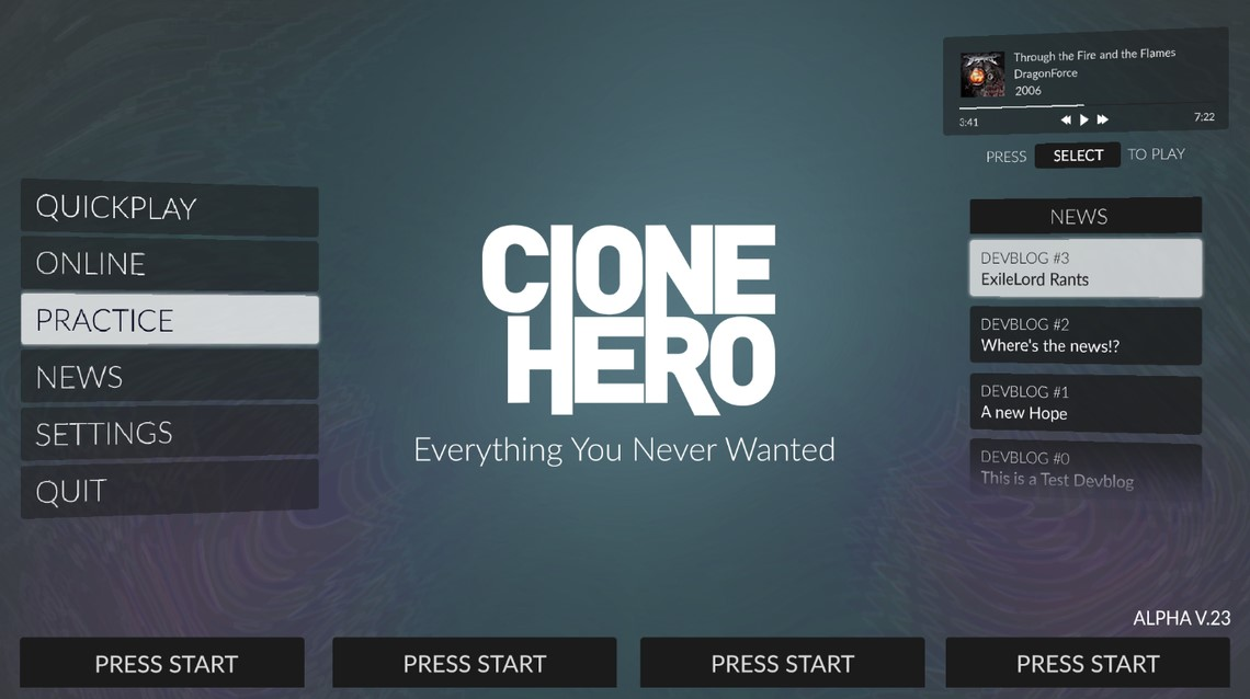 Clone Hero UI screenshot