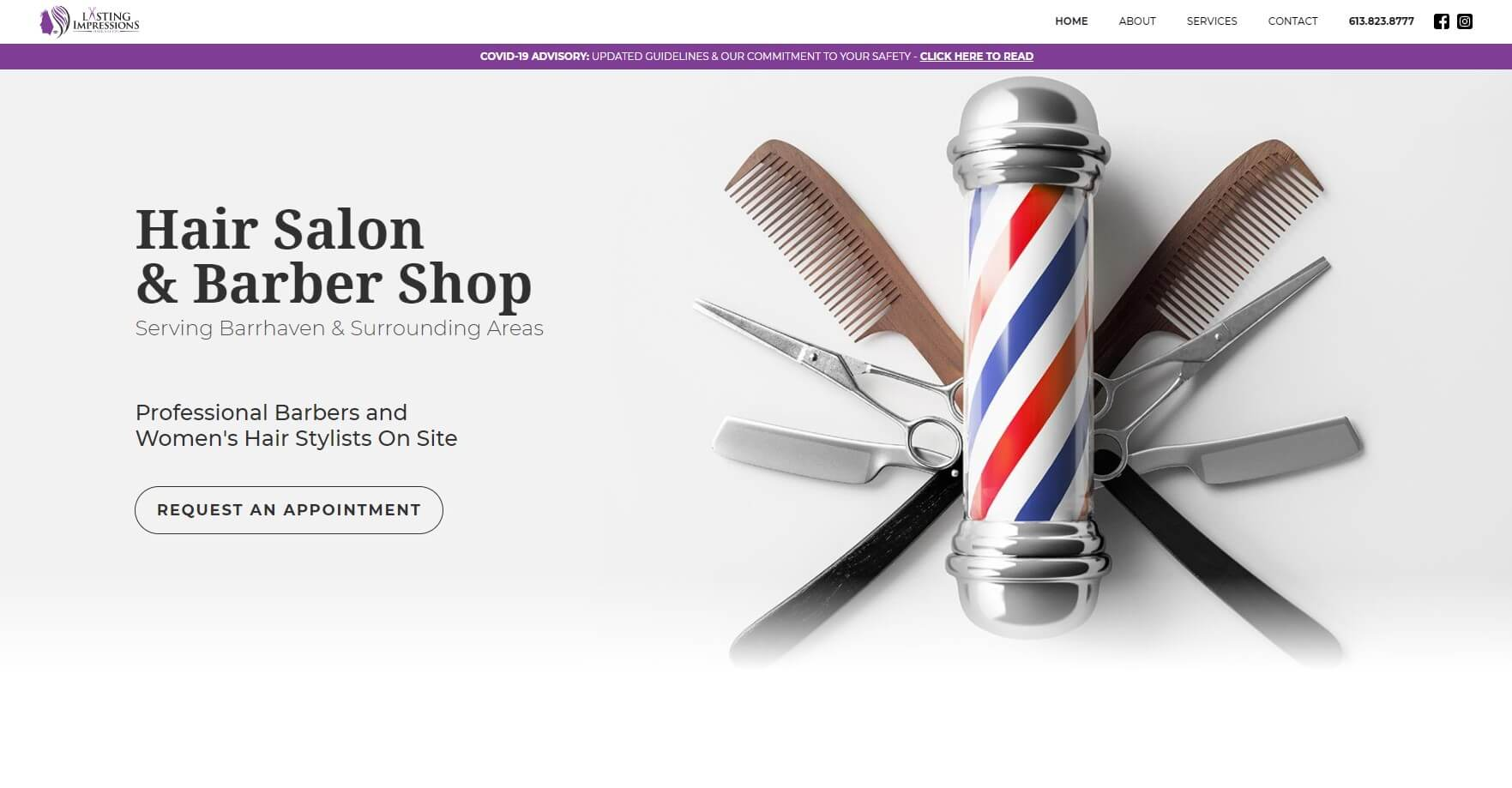 Hair salon & barber shop website design screenshot