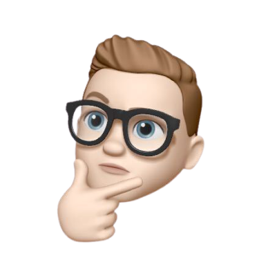 An Apple memoji of Sam Judge. Depicting him as a white male with light brown short hair and black thick rimmed glasses. His expression is best described as 'thinking face'.