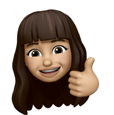 An Apple memoji of Ema O'Donovan. Depicting her as a woman with dark brown long hair with a fringe, she is smiling with a 'thumbs up'.