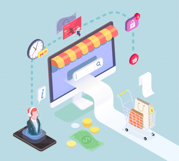Shopping e-commerce isometric concept with pictogram icons images of smart electronic devices and cash symbols vector illustration Free Vector