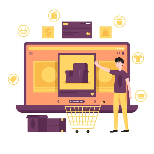 Purchase online concept Free Vector