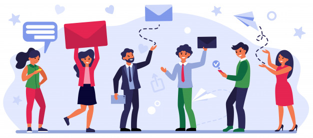 People sending and receiving messages Free Vector