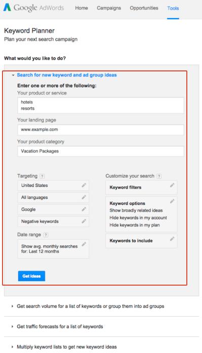using Google Keyword Planner