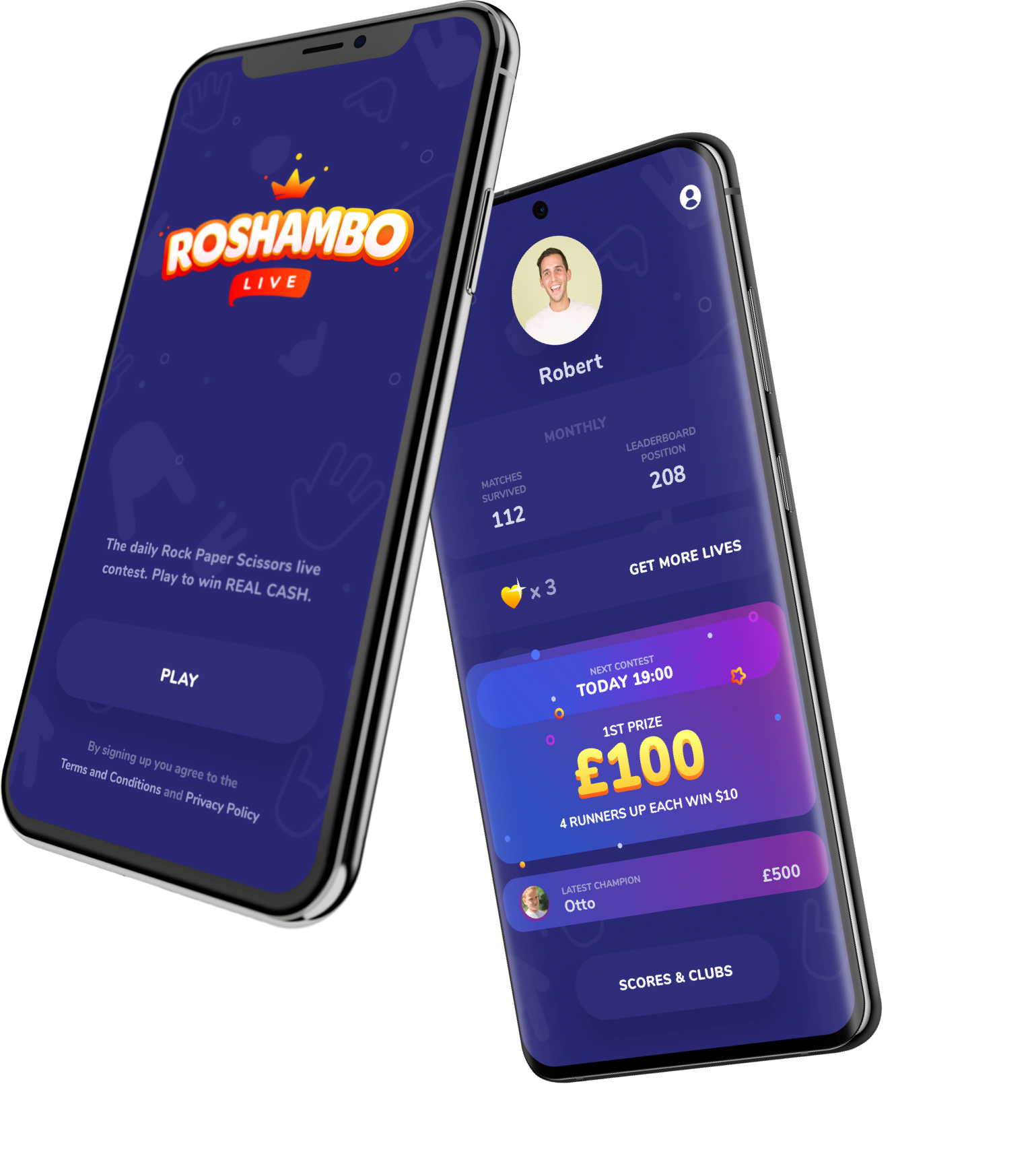 Roshambo - classic game of Rock Paper Scissors transformed into an epic national mobile contest.