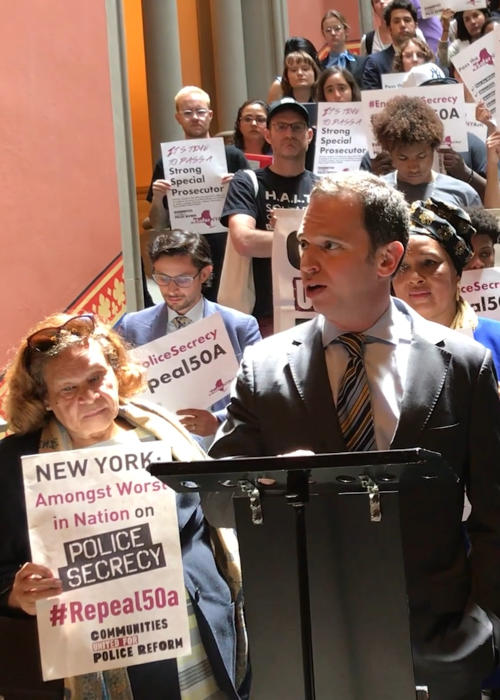 Dan Quart at press conference with Communities United for Police Reform activists, protesting for the repeal of 50-a