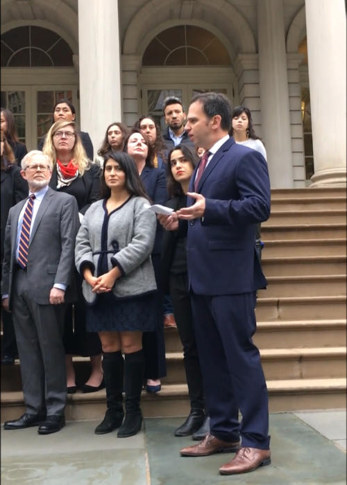 Assembly member Dan Quart speaking at a press conference with women and members of the Sexual Harassment Working Group