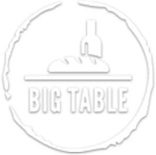 Big table logo in white with transparent background