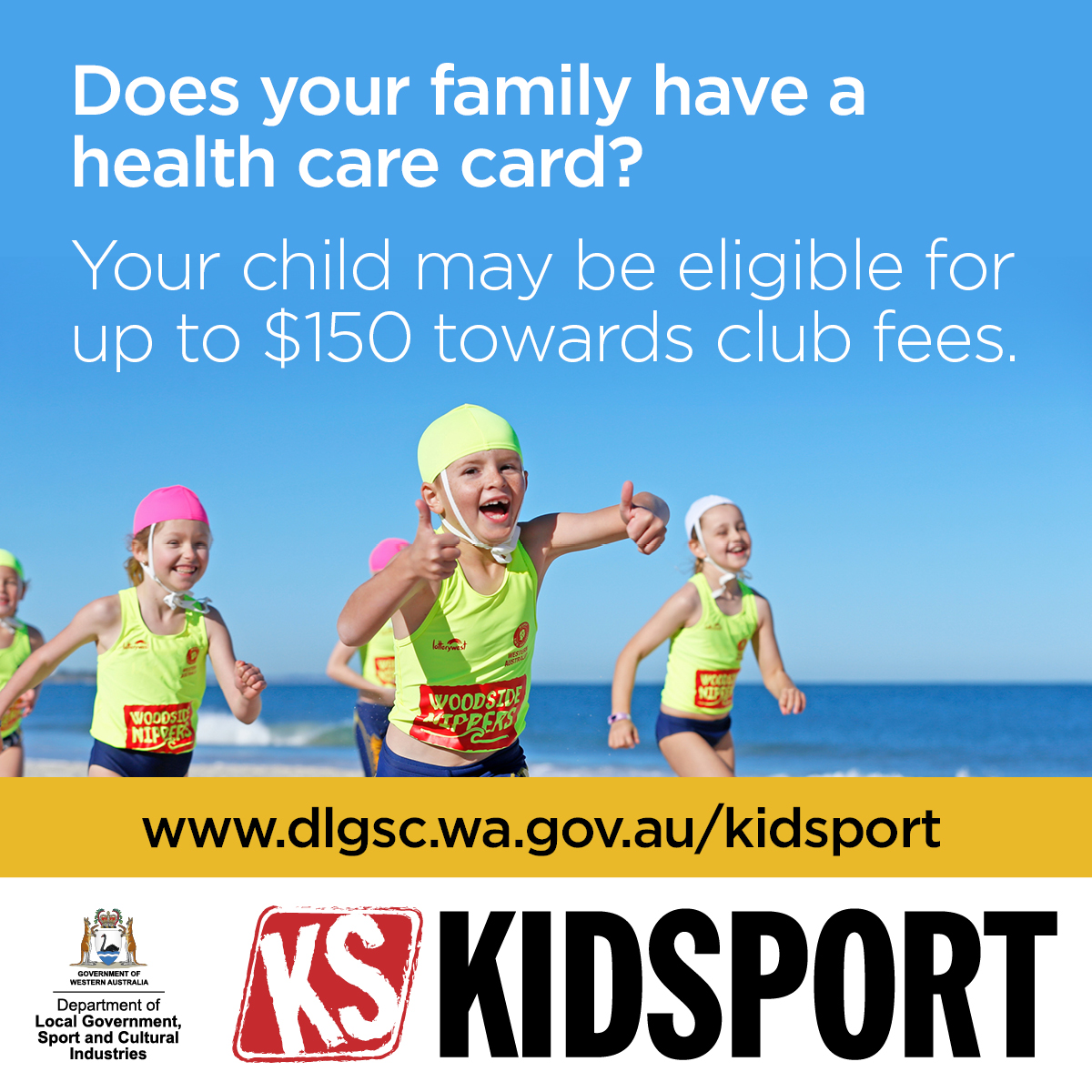 Does your family have a health care card? Your child may be eligible for up to $150 towards club fees. More info on https://staging.dlgsc.wa.gov.au/funding/sport-and-recreation-funding/kidsport/information-for-parents