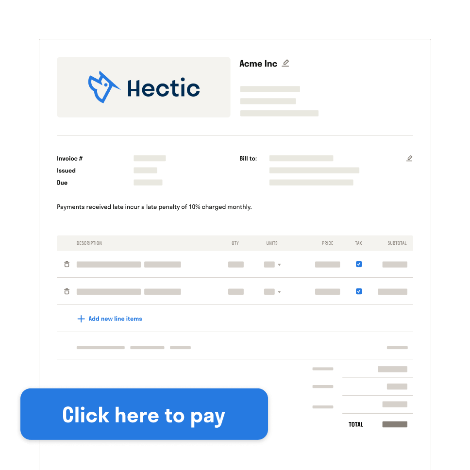 Hectic invoices for freelancers UI illustration