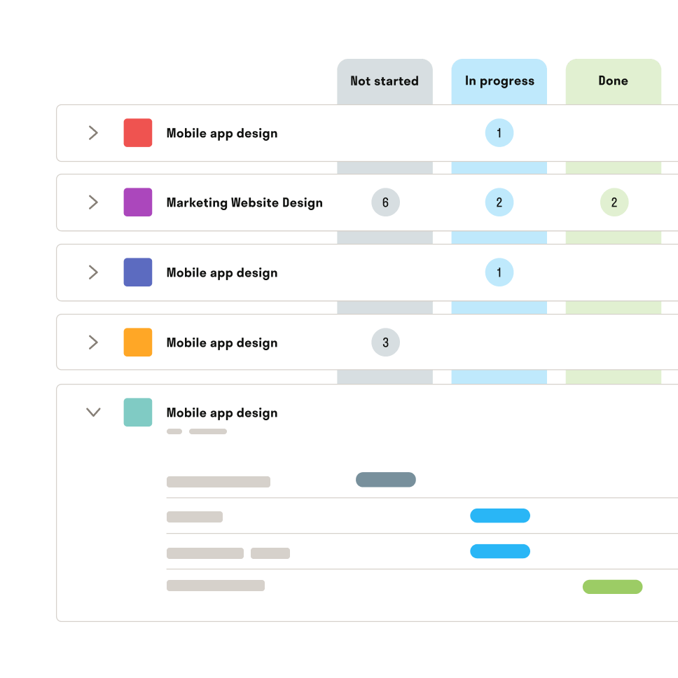 Hectic project managment list view for freelancers UI illustration