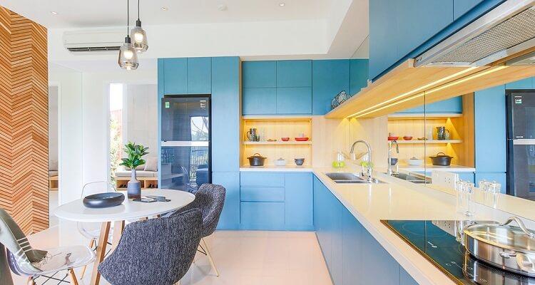 Phòng bếp căn hộ mẫu Palm Heights 2 phòng ngủ