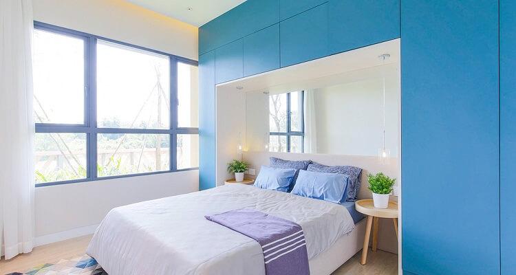 Phòng ngủ căn hộ mẫu Palm Heights 2 phòng ngủ
