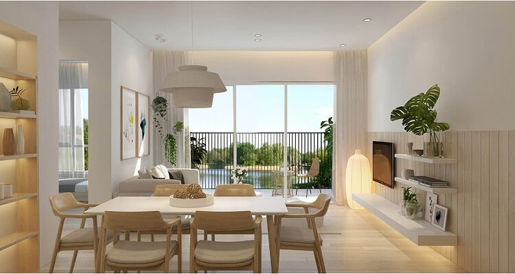 Phòng khách căn hộ mẫu Palm Heights 3 phòng ngủ (loại nhỏ)