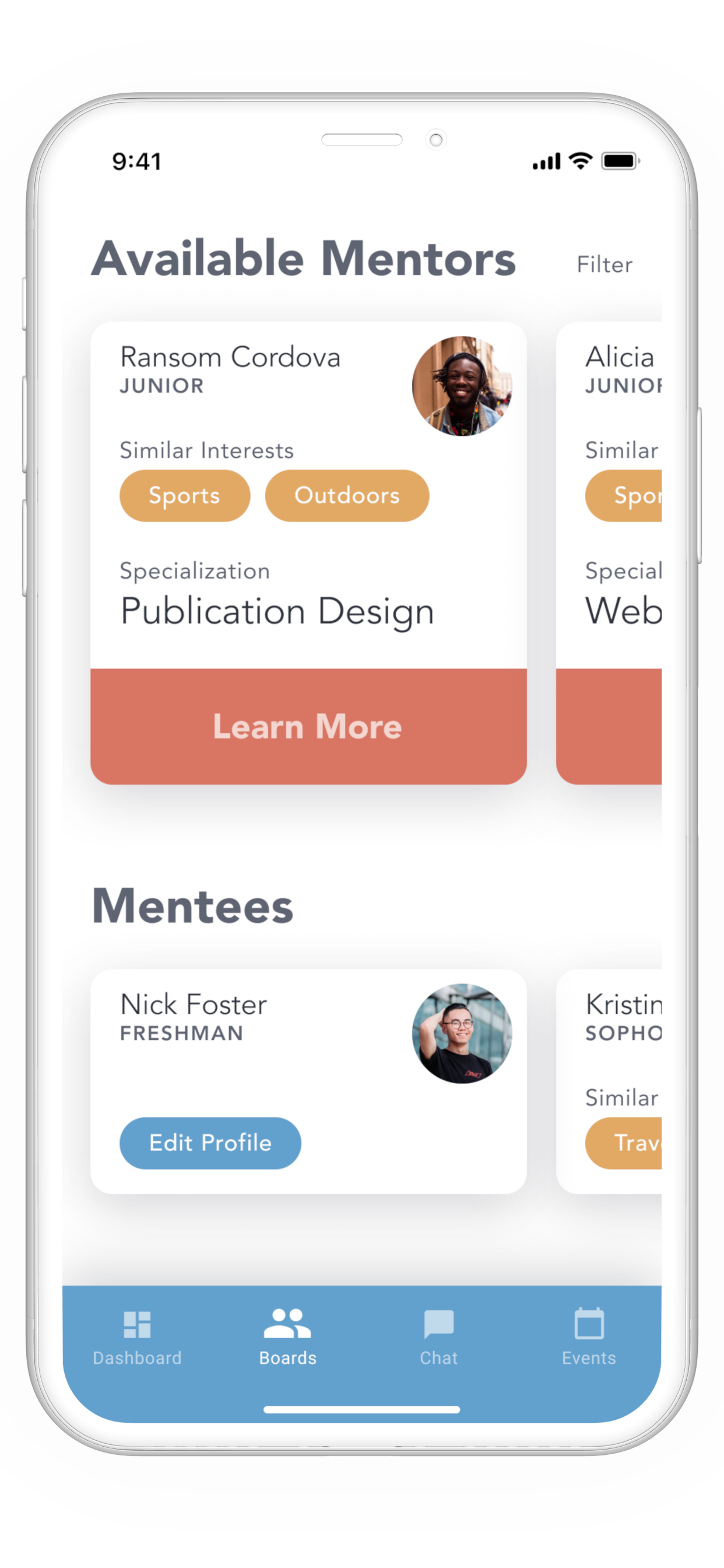 MoMent available mentor/mentee boards screen