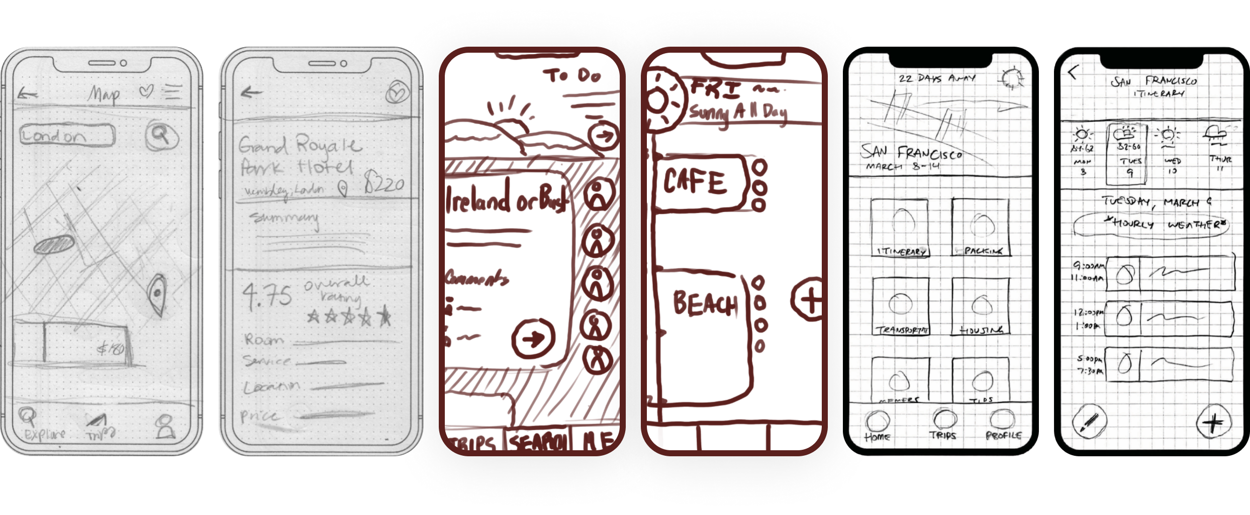 Wireframe sketches in different styles