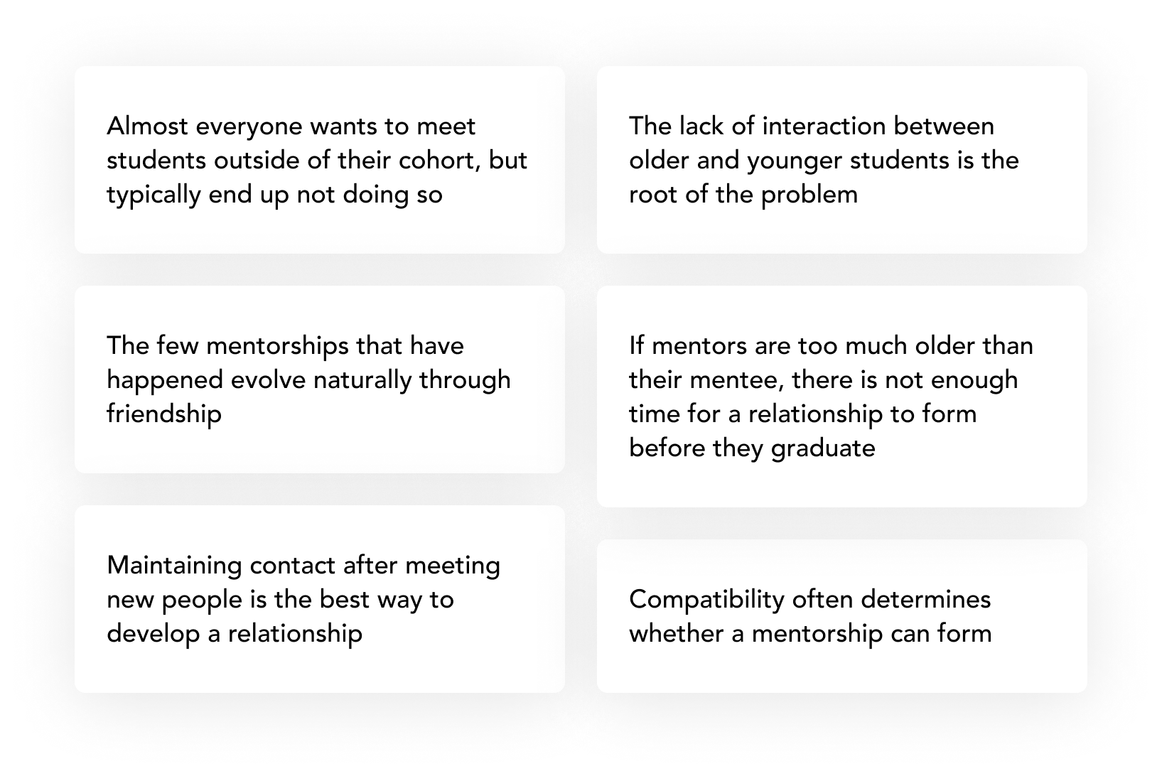 Almost everyone wants to meet students outside of their cohort, but typically end up not doing so. The few mentorships that have happened evolve naturally through friendship. Maintaining contact after meeting new people is the best way to develop a relationship. The lack of interaction between older and younger students is the root of the problem. If mentors are too much older than their mentee, there is not enough time for a relationship to form before they graduate. Compatibility often determines whether a mentorship can form.