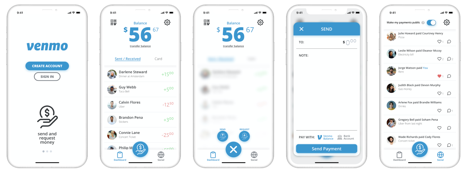 First version of the redesign showing 5 updated screens