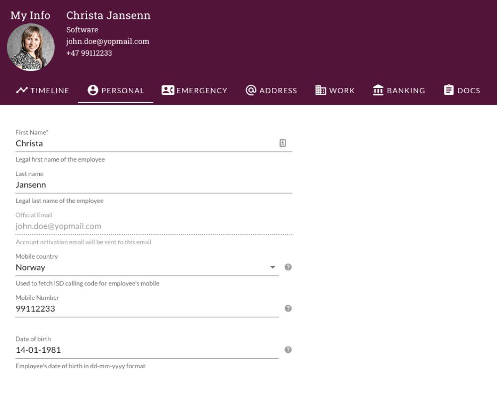 Employee directory self service interface