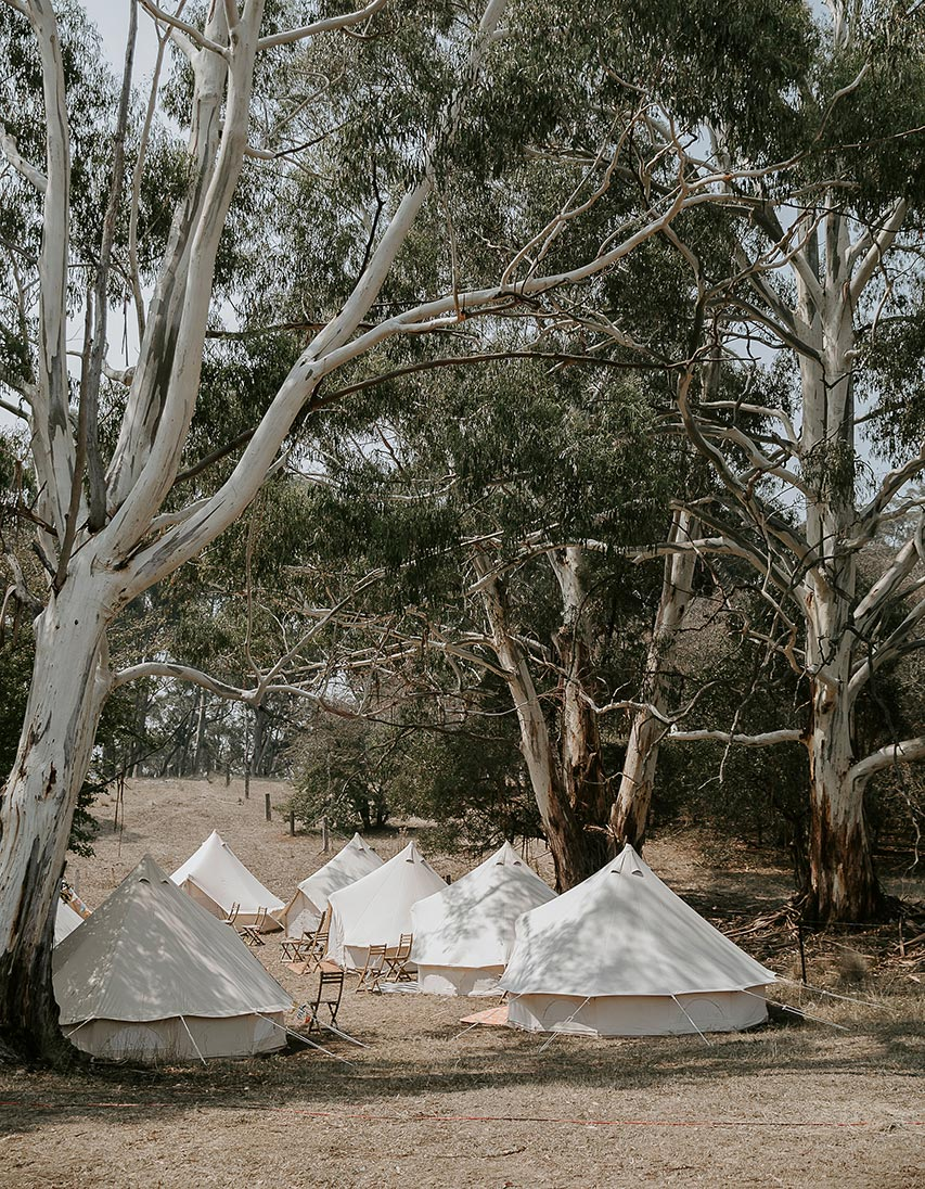Glamping tents — bell tents and tipi tents in rural Victoria