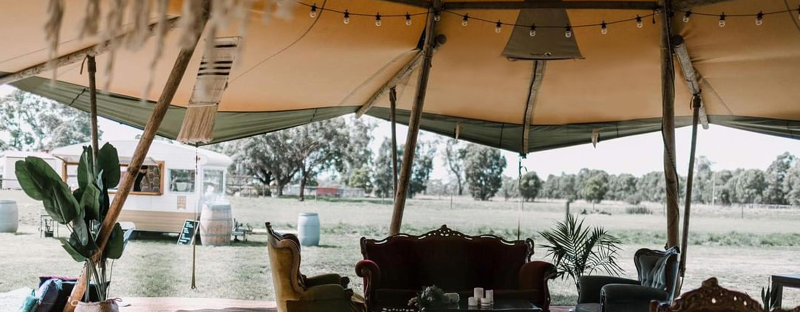 Boho style giant tipi with caravan bar in Gippsland, Victoria