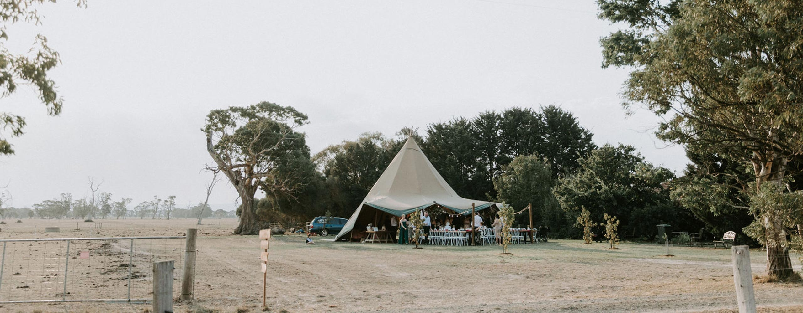 Giant tipi at paddock wedding in Victoria
