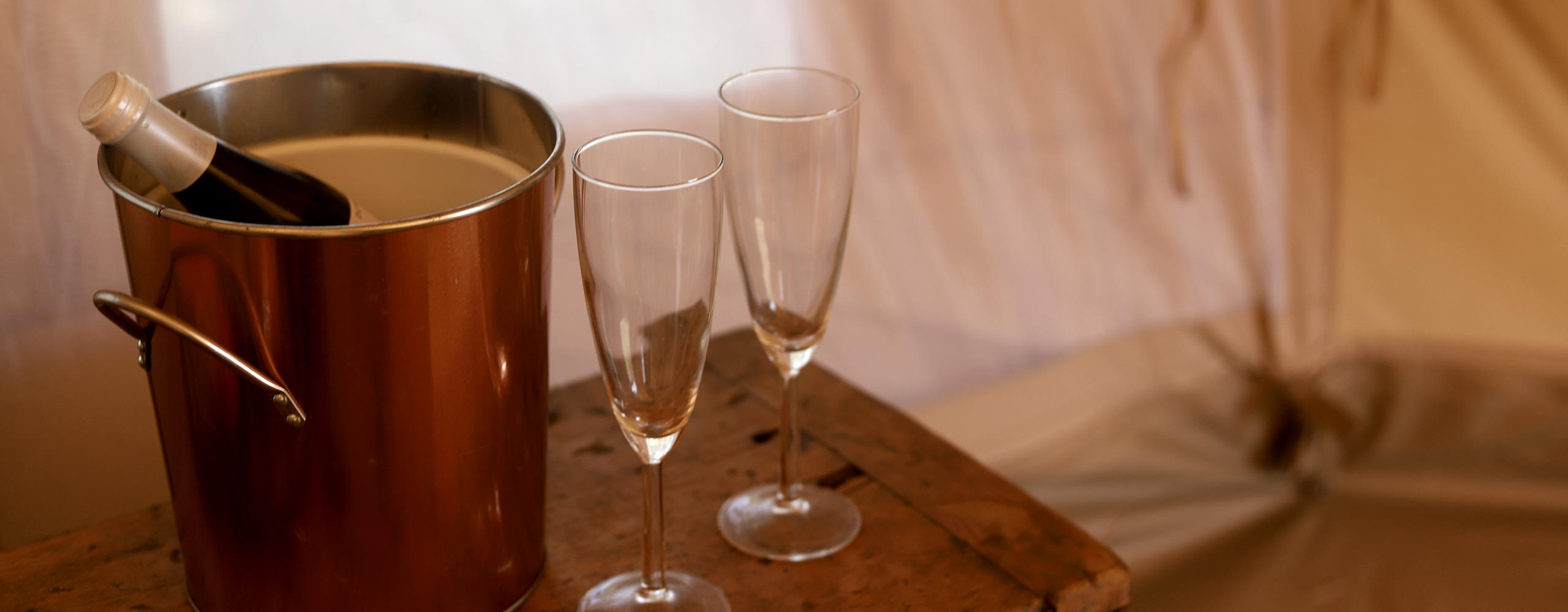 Newlyweds Suite — Sparkling wine from Gippsland, Victoria in luxury glamping tent
