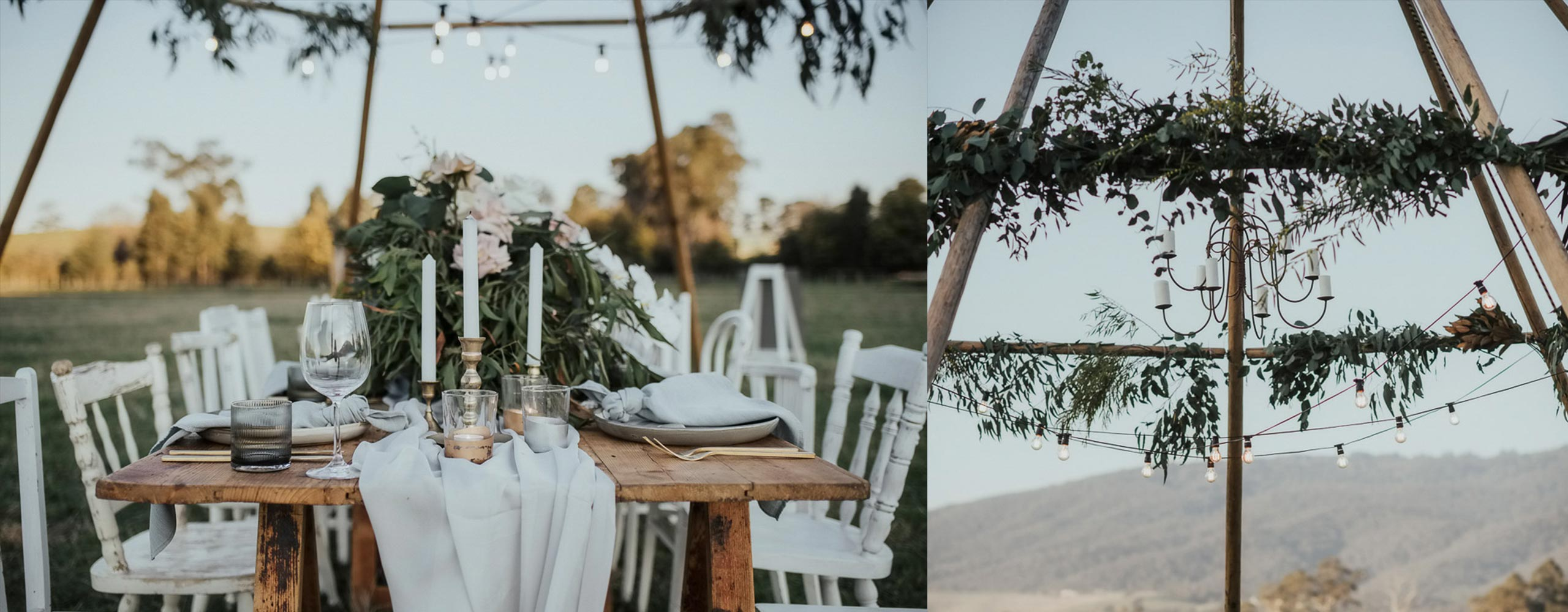 Naked Tipi — styled shoot with greenery and florals near Melbourne, Victoria