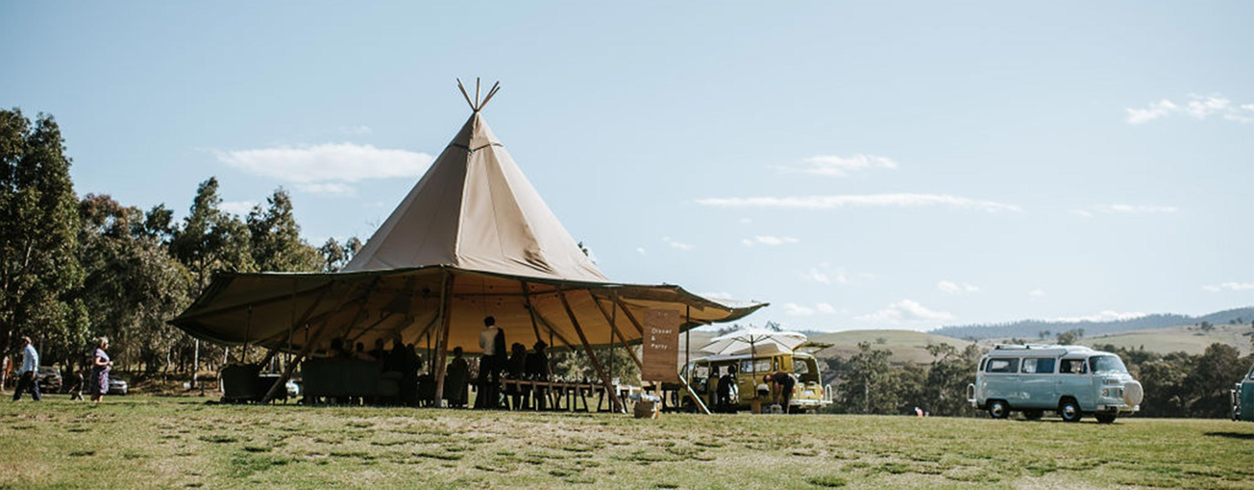 Giant tipi marquee at elopement wedding in Gippsland, Victoria