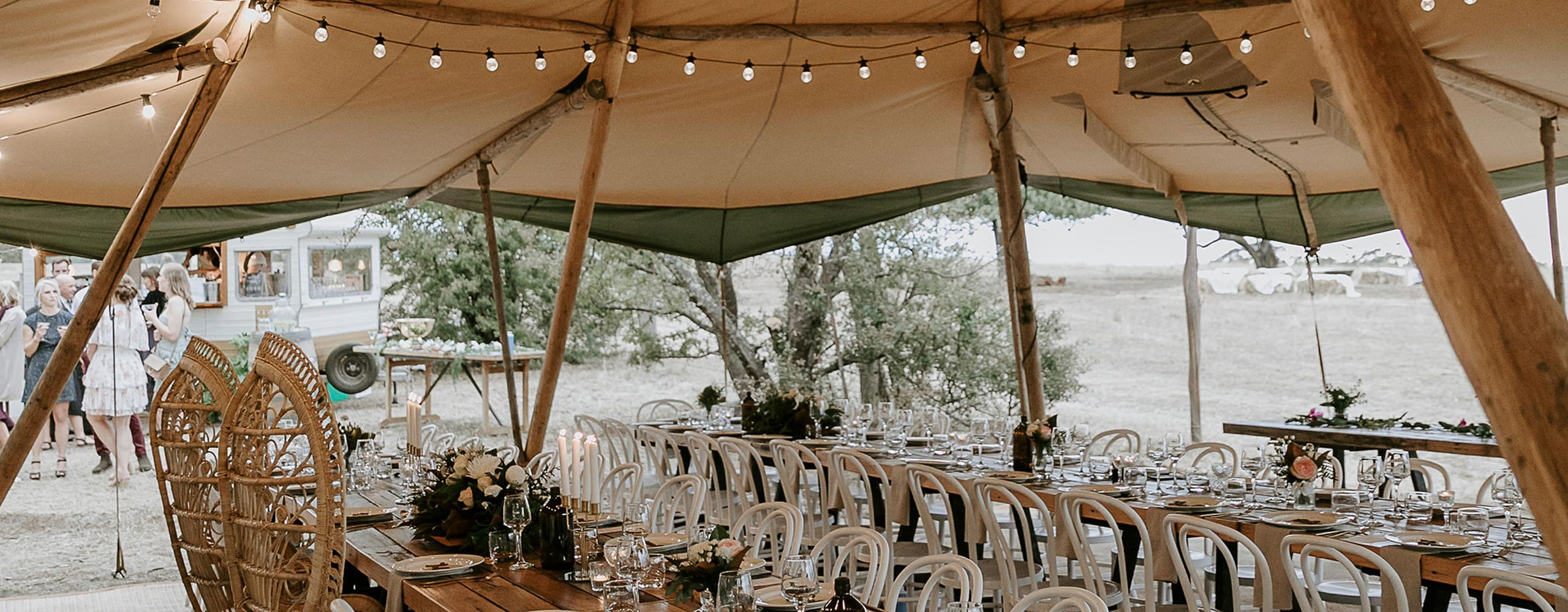 Dancing at wedding under the giant tipi in Gippsland, Victoria