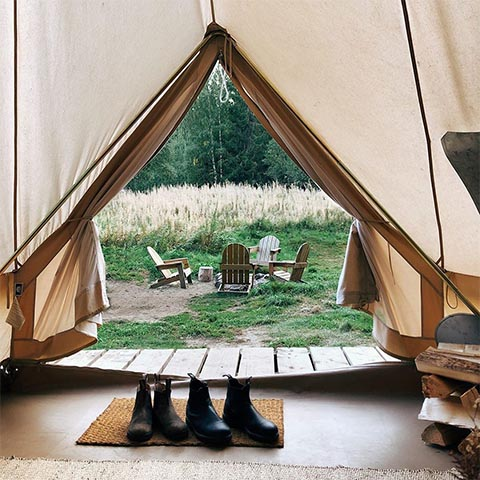 Instagram images of glamping tent in the countryside in regional Victoria