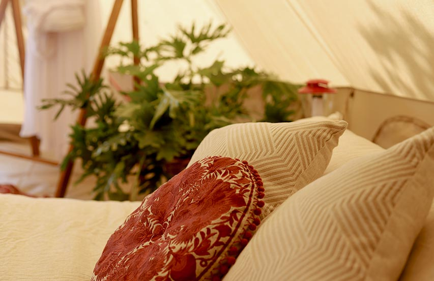 Glamping — Glam styling inside bell or tipi tent