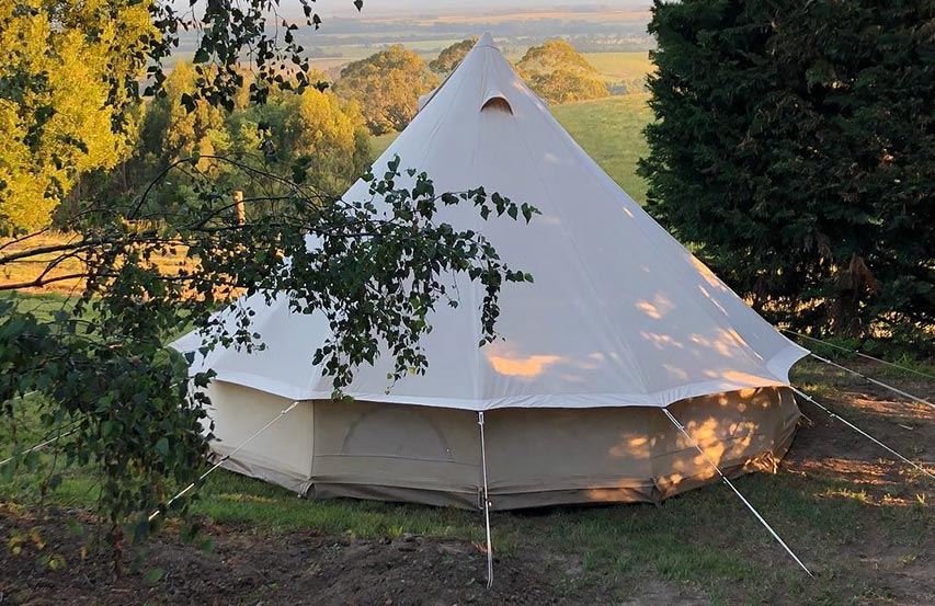 Glamping — Nude styled bell tent from the outside