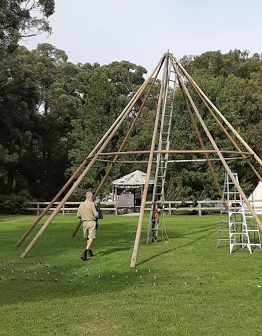 Giant tipi — setting up on site for wedding