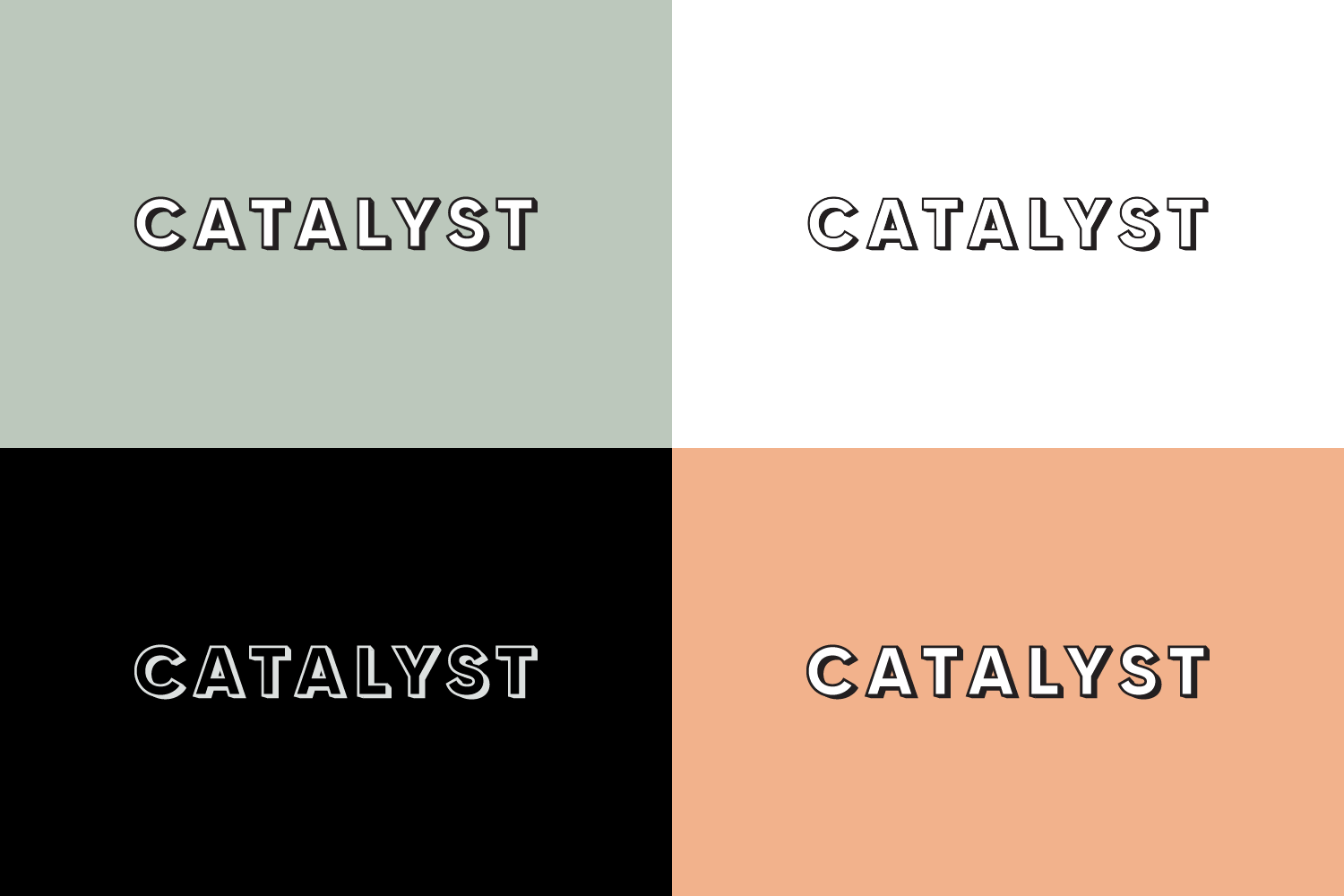 Catalyst - Logo design on different colour backgrounds