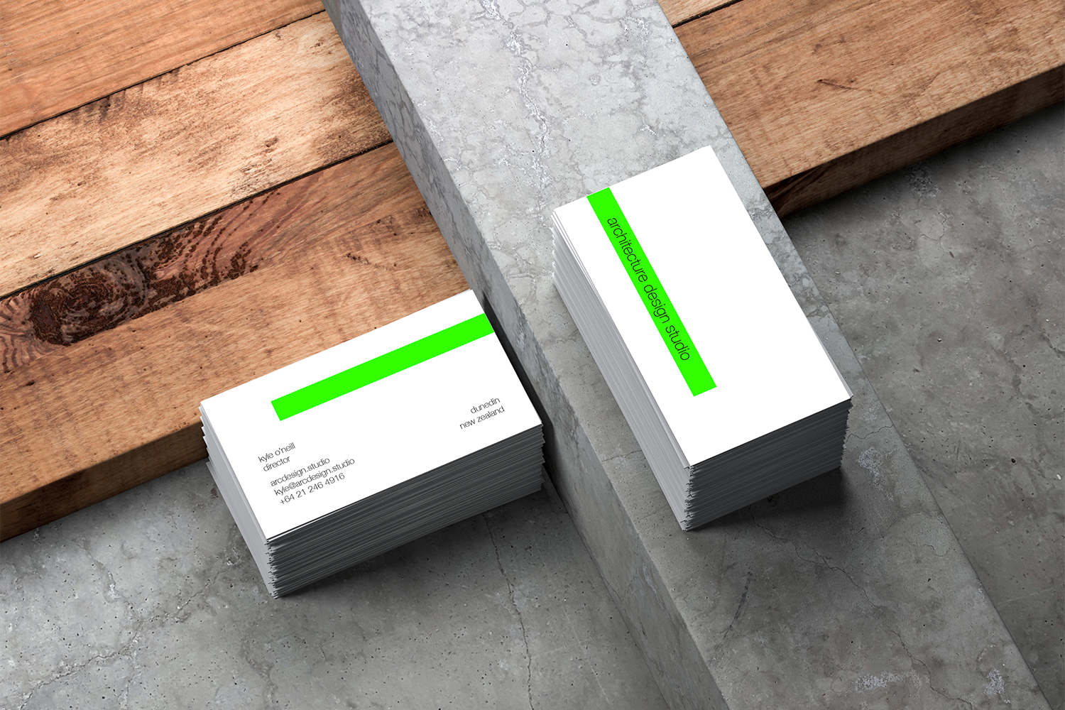 Architecture Design Studio - Business Cards on Concrete and Wood