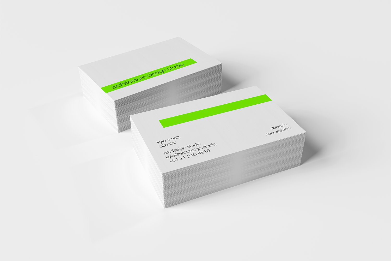 Architecture Design Studio - Business Cards on Concrete and White Background